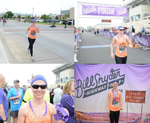 Beth running the Bill Snyder Highway half - Mechanized Design